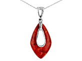 Red Coral Silver Enhancer With Chain