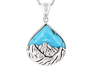 Blue Kingman Turquoise Sterling Silver Pendant With Chain
