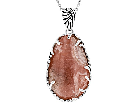 Pink Rhodochrosite Rhodium Over Sterling Silver Pendant With Chain