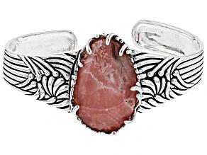 Pink Rhodochrosite Rhodium Over Sterling Silver Cuff Bracelet