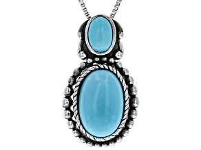 Sleeping Beauty Turquoise Sterling Silver Pendant With Chain