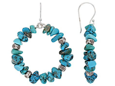 Blue Turquoise Chip Sterling Silver Bead Earrings