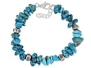 Blue Turquoise Chip Sterling Silver Bracelet