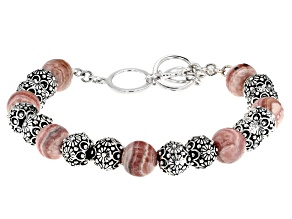 Pink Rhodochrosite Sterling Silver Bead Bracelet