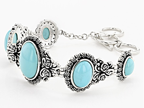 Kingman Turquoise Rhodium Over Sterling Silver Bracelet