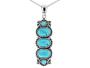 Kingman Turquoise Rhodium Over Silver Pendant With Chain