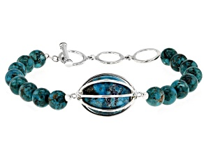 Turquoise Caged Bead Silver Bracelet