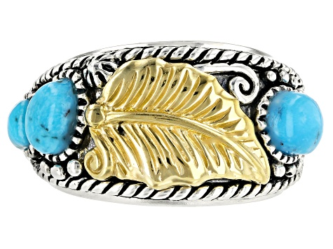 Kingman Turquoise Silver Two-Tone Leaf Ring