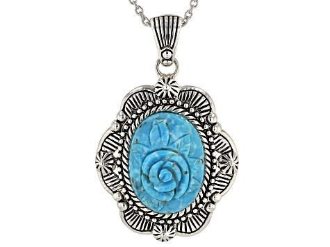 Turquoise Rose Rhodium Over Silver Pendant With Chain