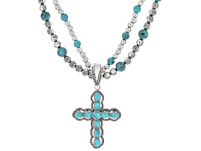 Turquoise Silver Bead Necklace with Enhancer