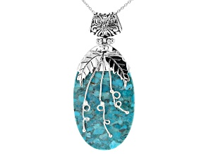 Turquoise Silver Overlay Pendant/Slide With Chain