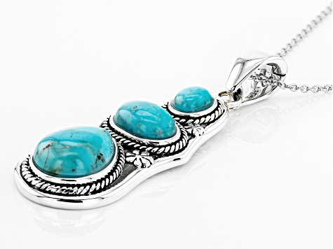 Turquoise Silver Enhancer With Chain