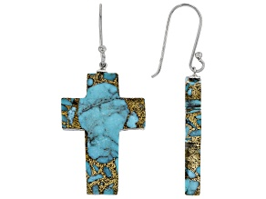 Blue Turquoise Cross Rhodium Over Silver Earrings