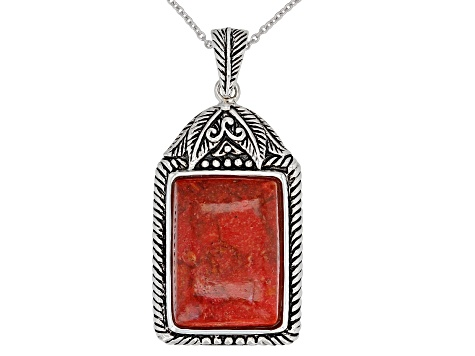 Red Coral Sterling Silver Pendant With 18