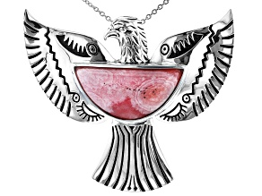 Rhodochrosite Silver Phoenix Pendant/Slide With Chain