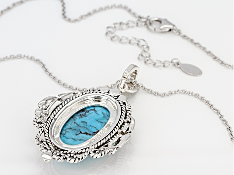 Kingman Turquoise Silver Enhancer With Chain