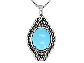 Turquoise Sleeping Beauty Rhodium Over Silver Pendant With Chain