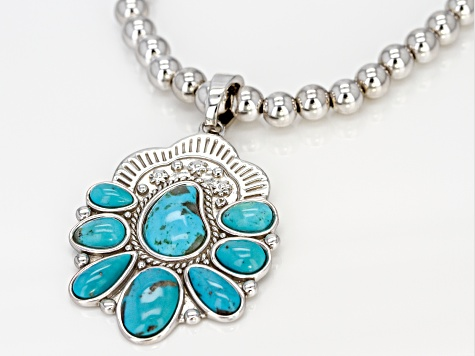 Turquoise Rhodium Over Silver Enhancer and Bead Necklace