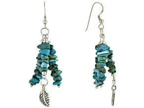Turquoise Chip Rhodium Over Silver Earrings