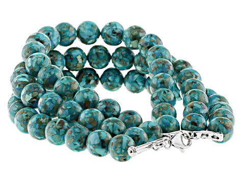 Turquoise Enhancer Rhodium Over Silver Convertible Necklace