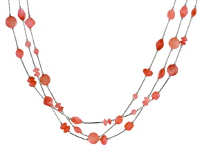 Peach Coral Liquid Silver Necklace