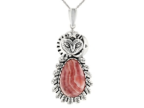 Rhodochrosite Rhodium Over Silver Owl Enhancer With Chain