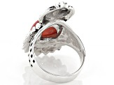 Rhodochrosite Rhodium Over Silver Owl Ring
