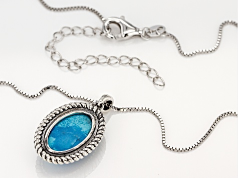 Kingman Turquoise Pendant With Chain