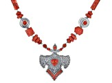 Red Sponge Coral Rhodium Over Silver Necklace