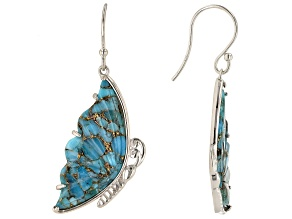 Turquoise Rhodium Over Silver Butterfly Earrings