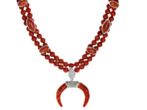 Red Sponge Coral Rhodium Over Sterling Silver Bead Necklace