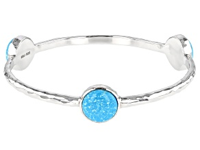 Turquoise Rhodium Over Silver Bangle Bracelet