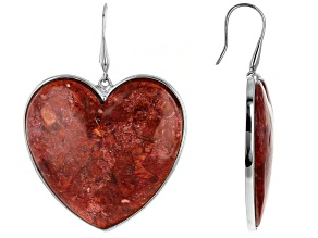 Red Coral Rhodium Over Silver Heart Earrings