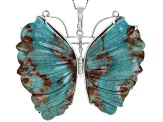 Green Carved Turquoise Rhodium Over Silver Butterfly Brooch/Pendant/Enhancer With Chain