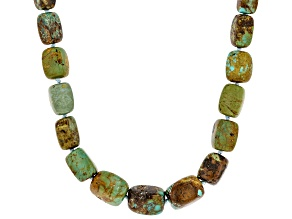 Turquoise With Matrix Rhodium Over Silver Necklace