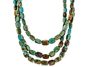 Turquoise With Matrix Bead Rhodium Over Silver 3-Strand Necklace