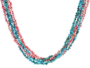 Turquoise and Bamboo Coral Chip 6-Strand Necklace