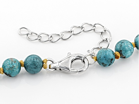 Mixed Shape Turquoise Rhodium Over Silver Necklace