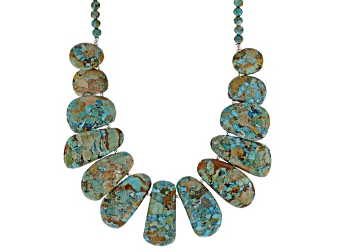 Multi Color Turquoise With Matrix Rhodium Over Silver Bead Necklace