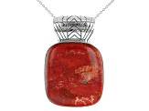 Red Sponge Coral Silver Enhancer With Chain