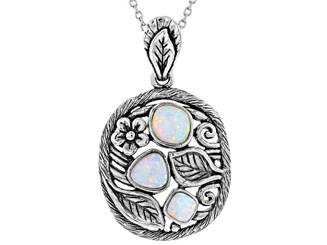 Lab Created Opal Silver Pendant With Chain