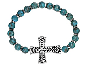 Turquoise Sterling Silver Bead Stretch Cross Bracelet
