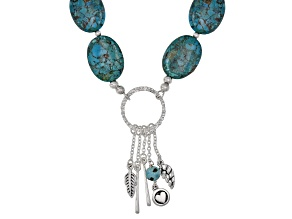 Turquoise Rhodium Over Sterling Silver Charm Necklace