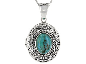 Turquoise Rhodium Over Silver Enhancer/Locket With Chain.