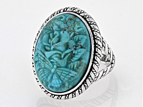 Turquoise Rhodium Over Silver Ring.
