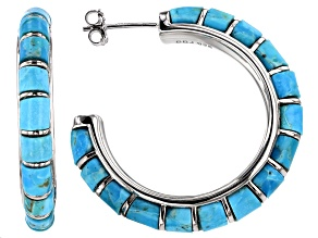 Southwest Style By JTV™ Turquoise Rhodium Over  Silver J-Hoop Earrings