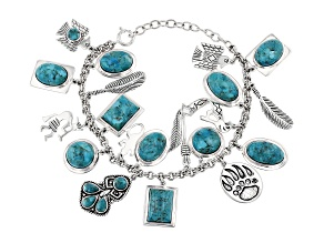 Turquoise Rhodium Over Silver Charm Bracelet
