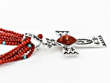 Red Sponge Coral Silver Necklace And Enhancer