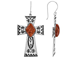 Red Sponge Coral Rhodium Over Silver Cross Earrings