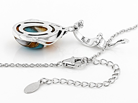 Kingman Turquoise/Spiny Oyster Shell Rhodium Over Silver Enhancer W/ Chain